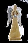 Engel aus Holz mit Flügeln aus Metall, natur-antikgrau