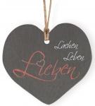 """Schieferplatte """"Lachen, Leben, Lieben"""""""