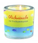 """Glaswindlicht """"Glückwünsche zur Erstkommunion"""""""