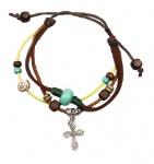 Armband aus Leder mit Baumwollkordel und verschiedenen Perlen