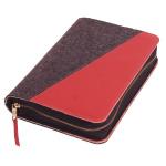 Gotteslobhülle Corvara Filz grau/Leder rot