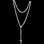 Rosenkranz mit bunten Kristallsteinchen Länge ca. 46 cm, Perlen rund, Ø 6 mm
