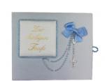 Seidenbezogener Taufbrief mit Rosenkranz, blau