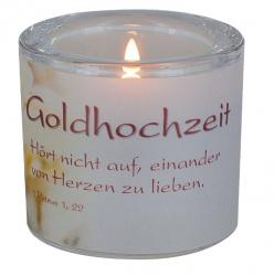 """Glaswindlicht """"Goldhochzeit - Hört nicht auf, einander von Herzen zu lieben"""""""