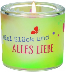 """Glaswindlicht """"Viel Glück und alles Liebe"""""""
