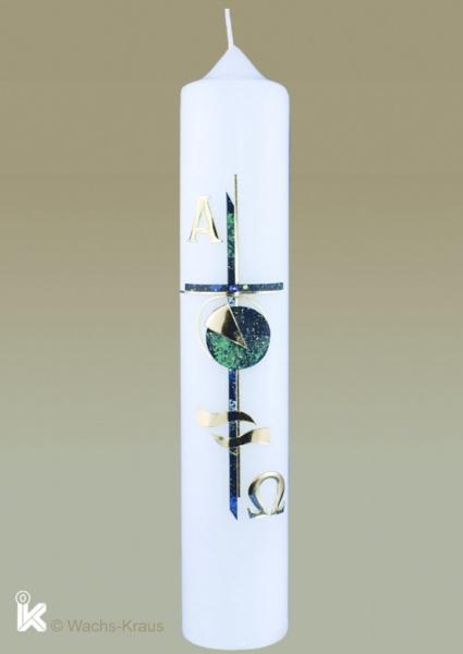 Taufkerze mit Alpha-Omega- und Wasser-Symbolen