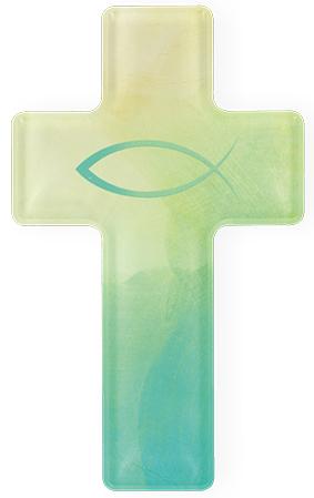 "Kreuz aus Acryl, Motiv ""Fisch"""